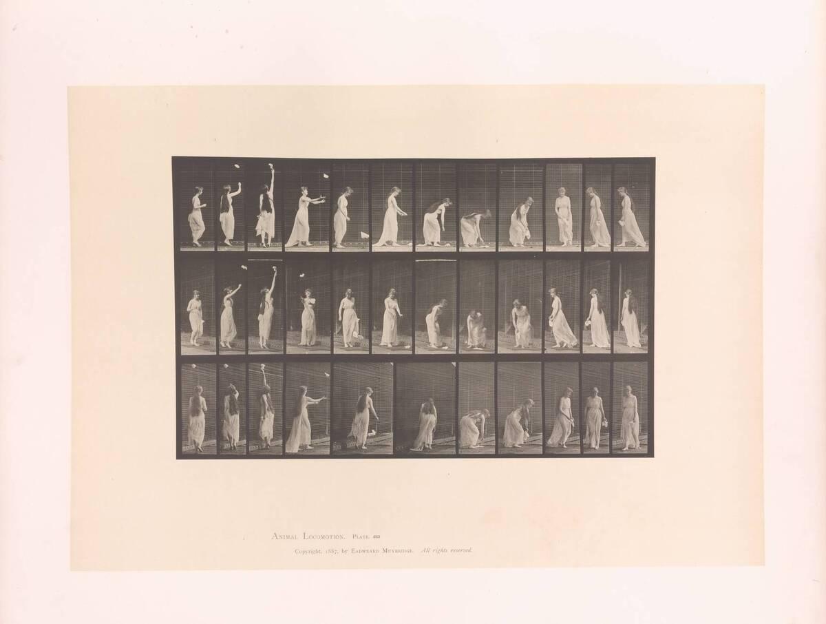 Animal Locomotion : Plates -Vol VI ; Females - (semi-nude and transparent drapery) and children ; Plate 463 (Originaltitel) von Muybridge, Eadweard