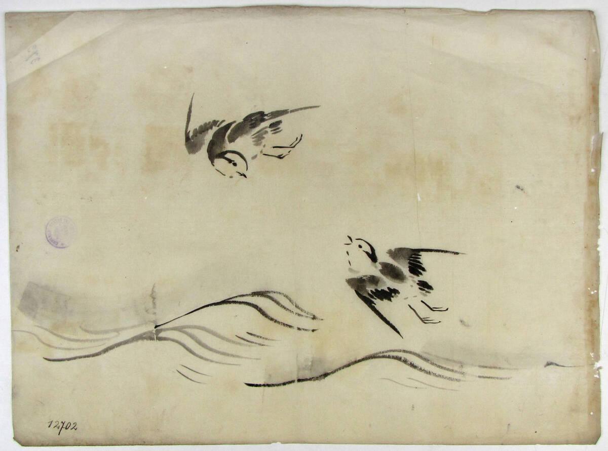 Zwei Schwalben über Wasser fliegend von Anonym