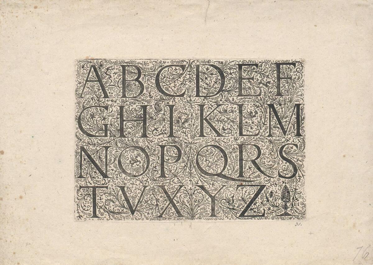 Lateinisches Majuskel- Alphabet auf Schweifarabeskengrund (vom Bearbeiter vergebener Titel) von Hopfer, Daniel
