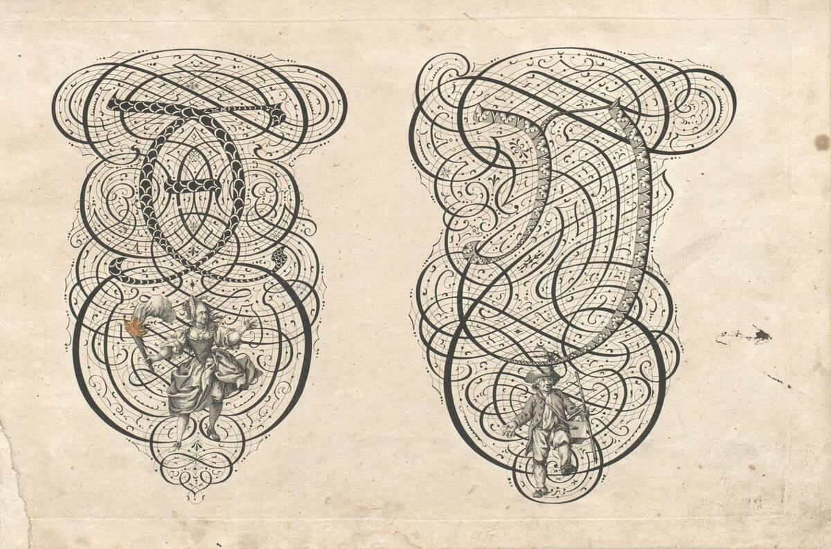 Die Buchstaben X und Y mit einer Frau mit einer Fackel und einem Mann, Blatt aus einem Frakturalphabet mit der Darstellung von Handwerkern (vom Bearbeiter vergebener Titel) von Albrecht, Johann Christoph