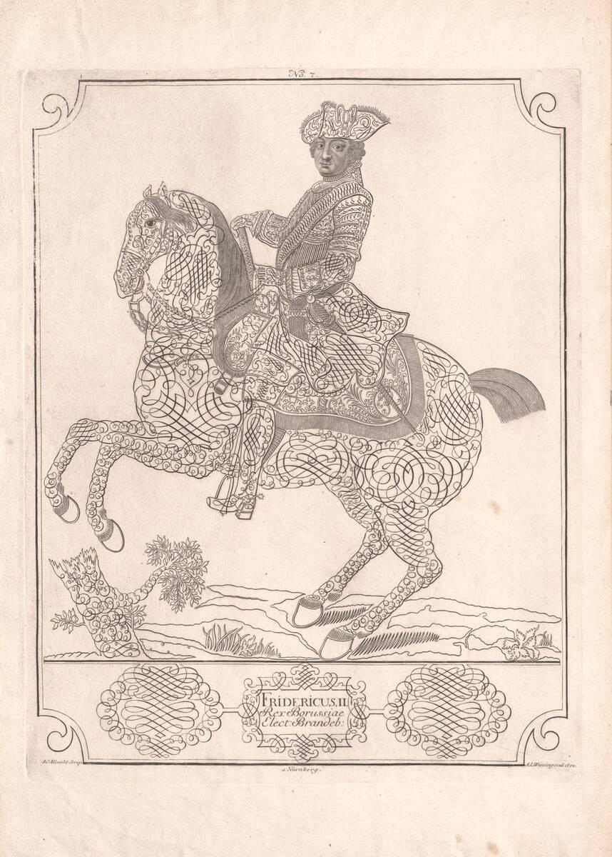Friedrich der Große zu Pferd, in Schreibzügen, Blatt 7 aus einer Folge (vom Bearbeiter vergebener Titel) von Albrecht, Johann Christoph