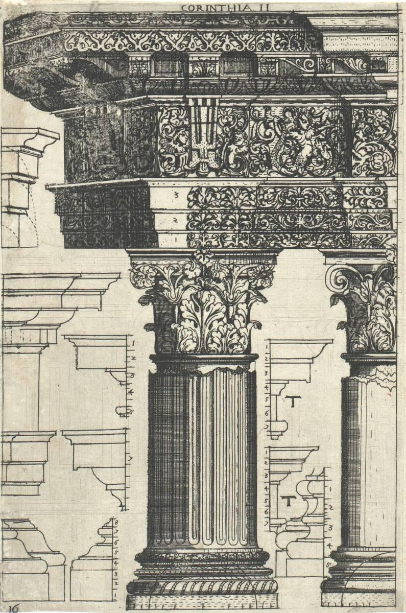 Corinthia II: Gebälk und Säulen korinthischer Ordnung. Blatt 16 (vom Bearbeiter vergebener Titel) von Bussemacher, Johann