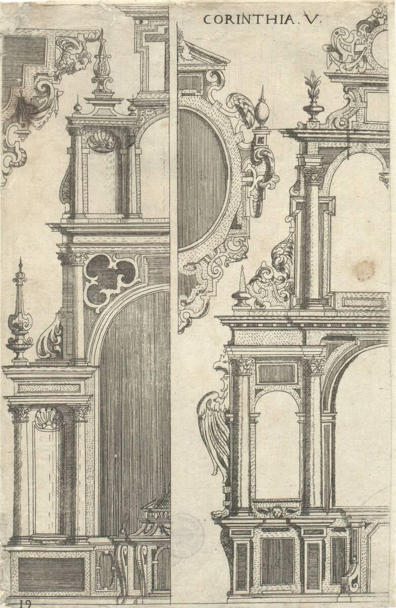 Corinthia V: Altar- und Epitaphhälften in korinthischer Ordnung. Blatt 19 (vom Bearbeiter vergebener Titel) von Bussemacher, Johann