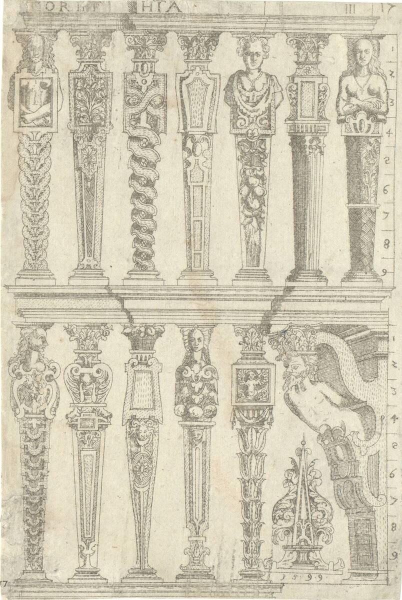 Corinthia III: Termen, und eine à-jour gearbeitete Konsole der korinthischen Ordnung. Blatt 17 (vom Bearbeiter vergebener Titel) von Bussemacher, Johann