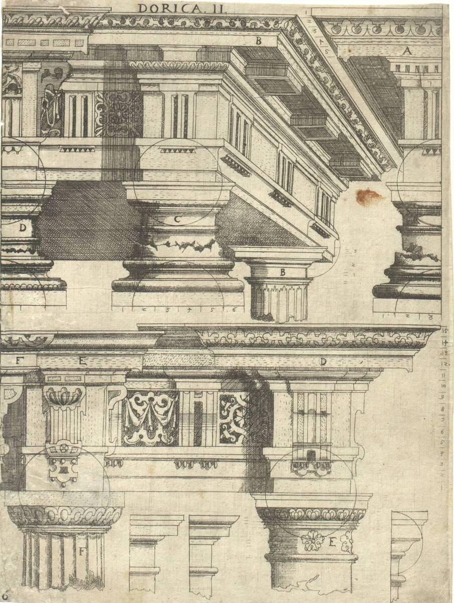 Dorica II: Kapitelle und Gebälke in dorischer Ordnung. Blatt 6 (vom Bearbeiter vergebener Titel) von Bussemacher, Johann