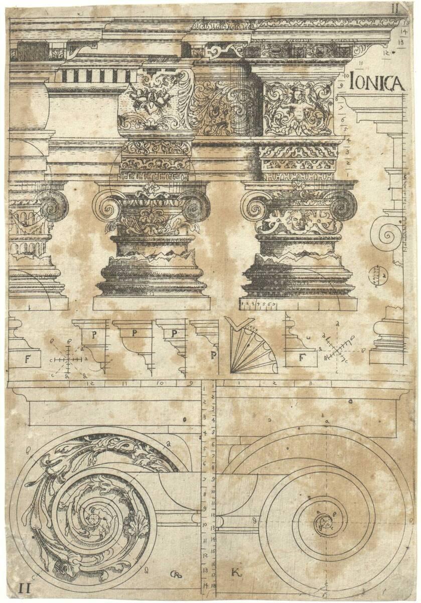 Ionica II: Kapitelle und Gebälk in ionischer Ordnung. Blatt 11 (vom Bearbeiter vergebener Titel) von Bussemacher, Johann
