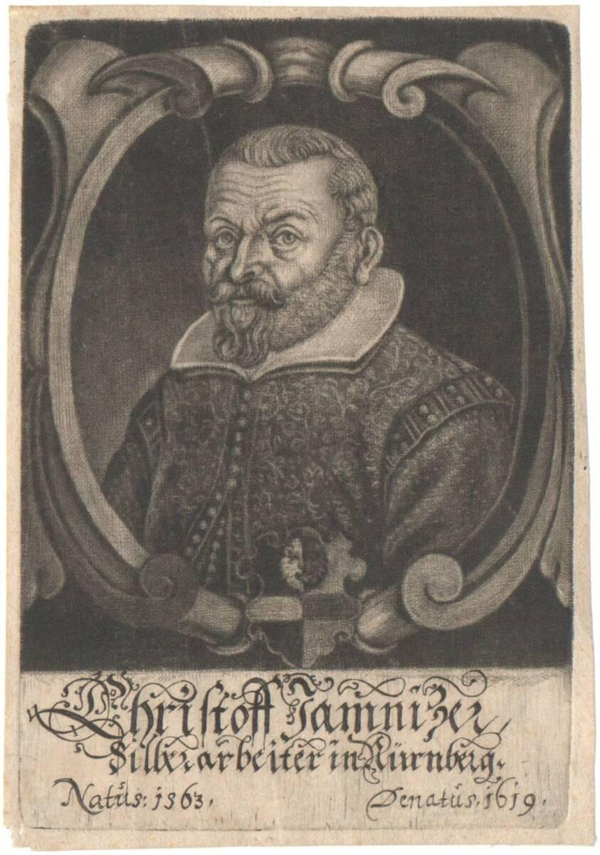 Portrait von Christoph Jamnitzer in Rollwerkrahmen (vom Bearbeiter vergebener Titel) von Anonym