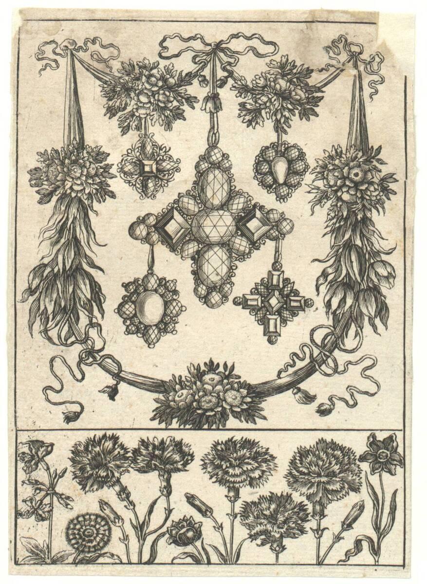Drei Anhänger umgeben von einem Blumenkranz, darunter ein Feld mit Blumen, Blatt aus einer Folge von Goldschmiedearbeiten mit Blumenornament (vom Bearbeiter vergebener Titel) von Anonym