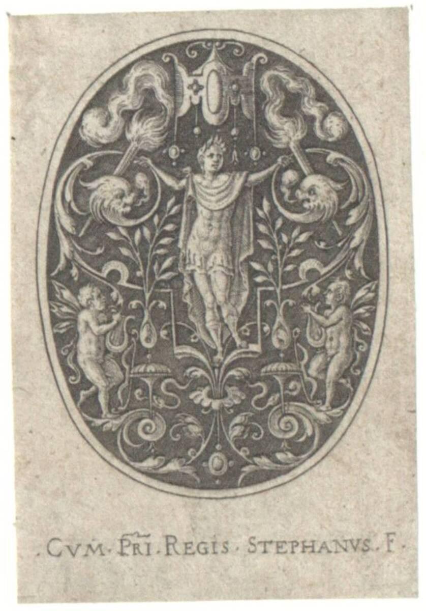 Apollo, Blatt aus der Folge der antiken Gottheiten und anderen Figuren in Ovalen, auf schraffiertem Grund (Robert- Dumesnil Nr. 371) (vom Bearbeiter vergebener Titel) von Delaune, Etienne
