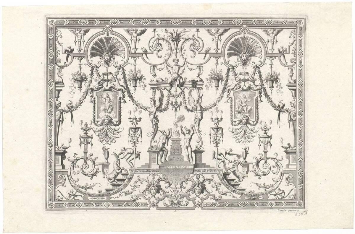 """Groteske, Blatt aus der Folge L aus den """"Oeuvres de Jean Berain etc."""", herausgegeben von Thuret (vom Bearbeiter vergebener Titel) von Bérain, Jean"""