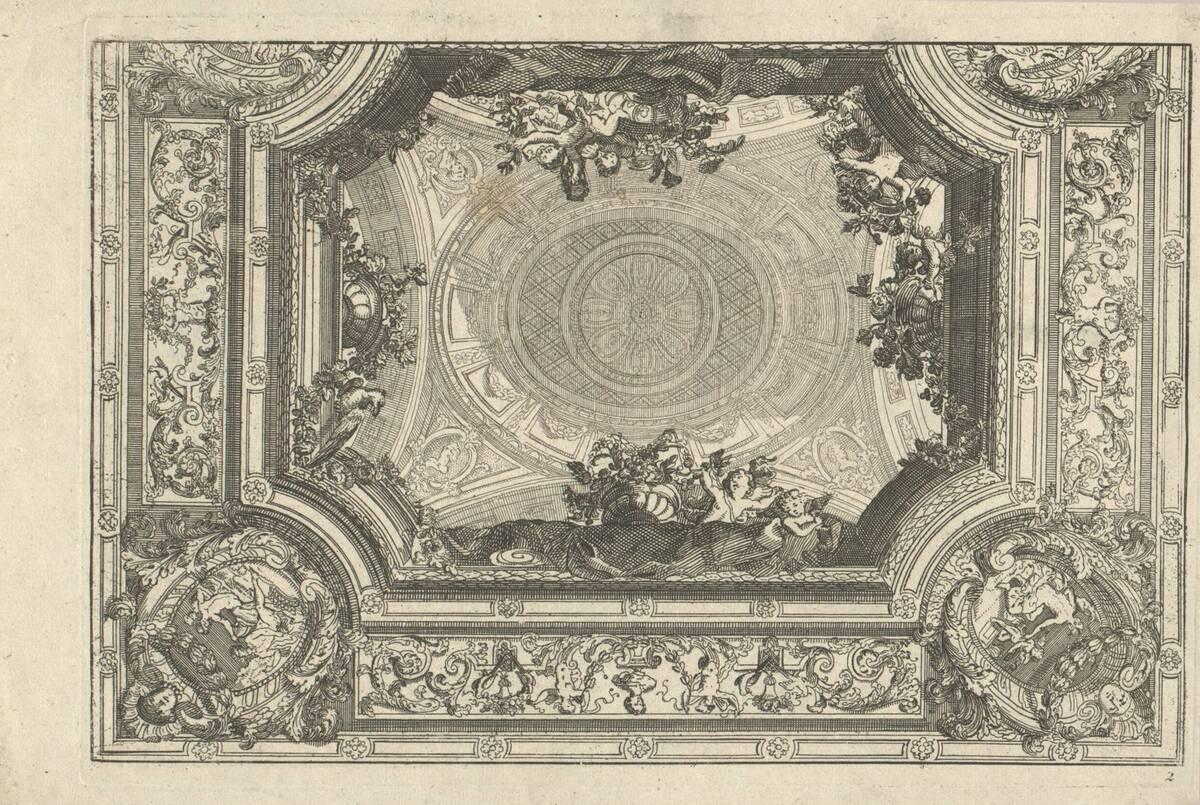 """Blatt 2 aus der Folge """"Nouveaux Livre de Plafond par D. Marot"""" (vom Bearbeiter vergebener Titel) von Marot, Daniel"""