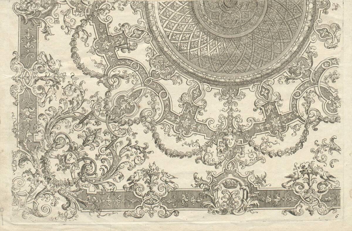 """Blatt 6 aus der Folge """"Nouveaux Livre de Plafond par D. Marot"""" (vom Bearbeiter vergebener Titel) von Marot, Daniel"""