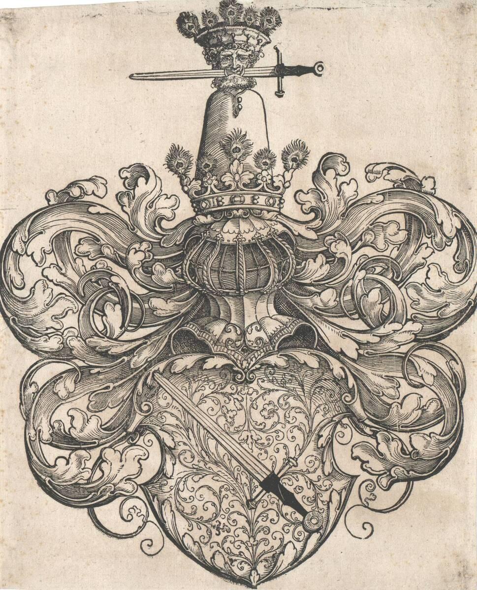 Das Wappen der Kress von Kressenstein, vormals Dürer zugeschrieben (vom Bearbeiter vergebener Titel) von Beham, Sebald