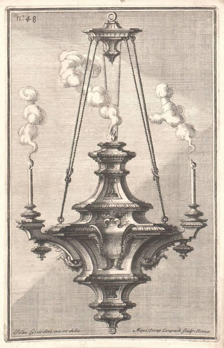 """Luster, Blatt 48 aus der Folge """"Disegni diversi inventati e delineati da Giovanni Giardini da Forlí. etc. Parte Prima"""" von Giardini, Giovanni"""