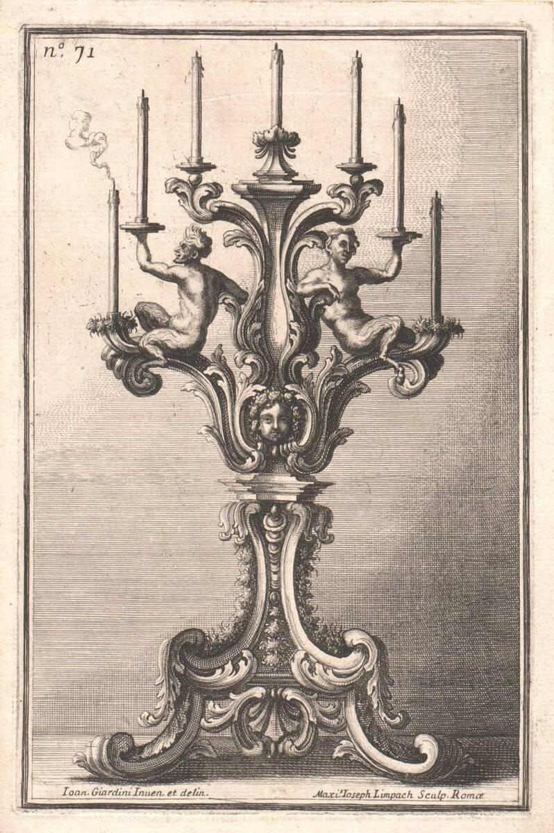 """Kerzenhalter, Blatt 71 aus der Folge """"Disegni diversi inventati e delineati da Giovanni Giardini da Forlí. etc. Parte Prima"""" von Giardini, Giovanni"""