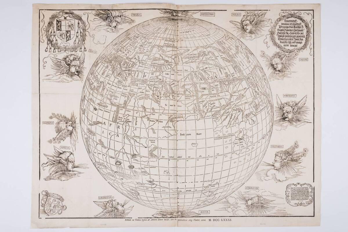 Die östliche Halbkugel der Weltkarte von Stabius. Neudruck von den originalen Druckstöcken (1515) nach dem Orignal in der Nationalbibliothek (vom Bearbeiter vergebener Titel) von Dürer, Albrecht