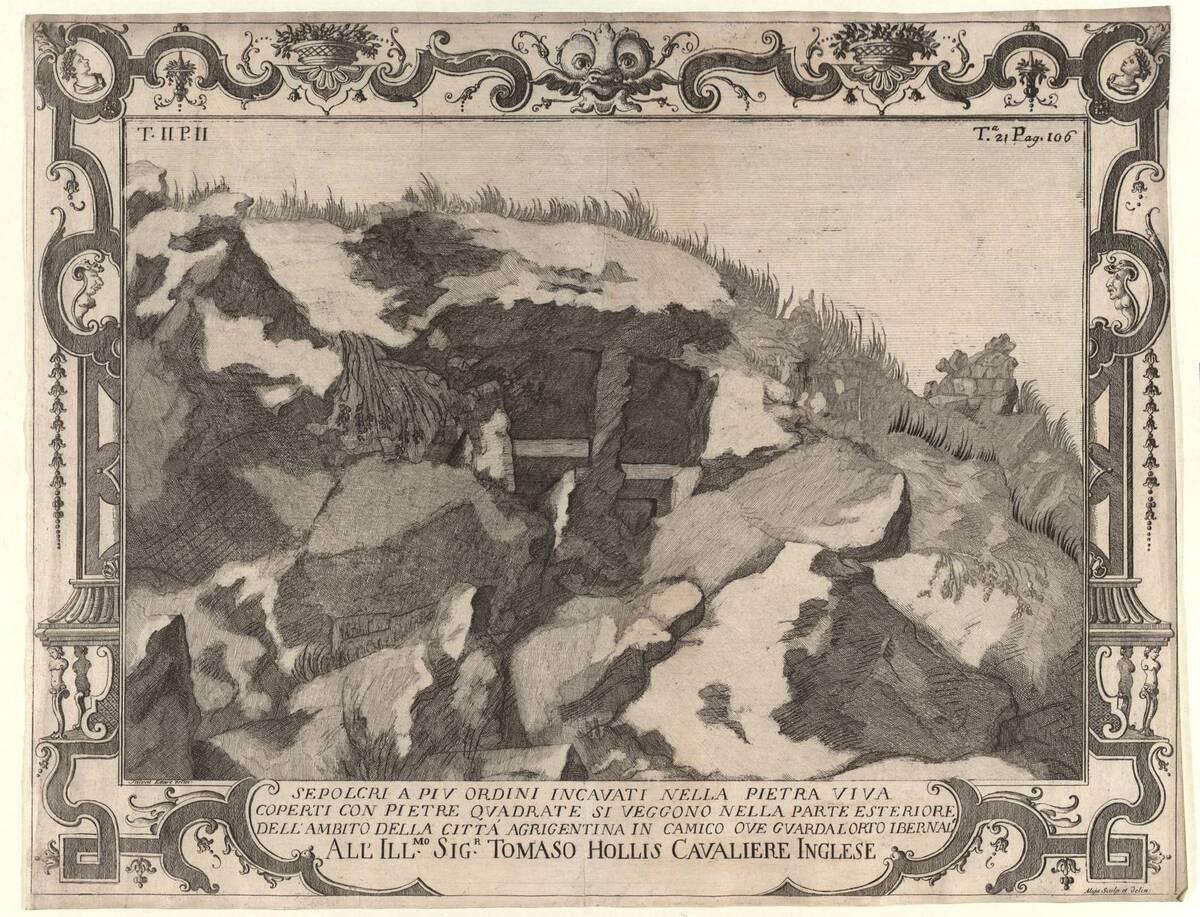 Landschaft mit Ruinen von Salvatore Ettore, Randeinfassung von Aloja, evtl. Blatt aus Folge: Raccolte d' antichita di Ercolano (1757-1767, Neapel), vgl. K. I. 15434 von Aloja, Giuseppe