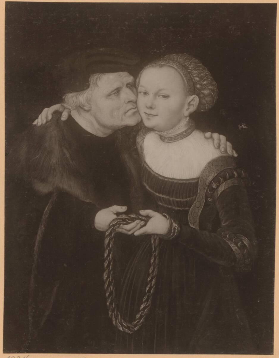 Fotografie des Porträts eines jungen Mädchen mit älterem Mann von Lucas Cranach d. Ä. aus der Sammlung von Camillo Castiglioni (vom Bearbeiter vergebener Titel) von Anonym