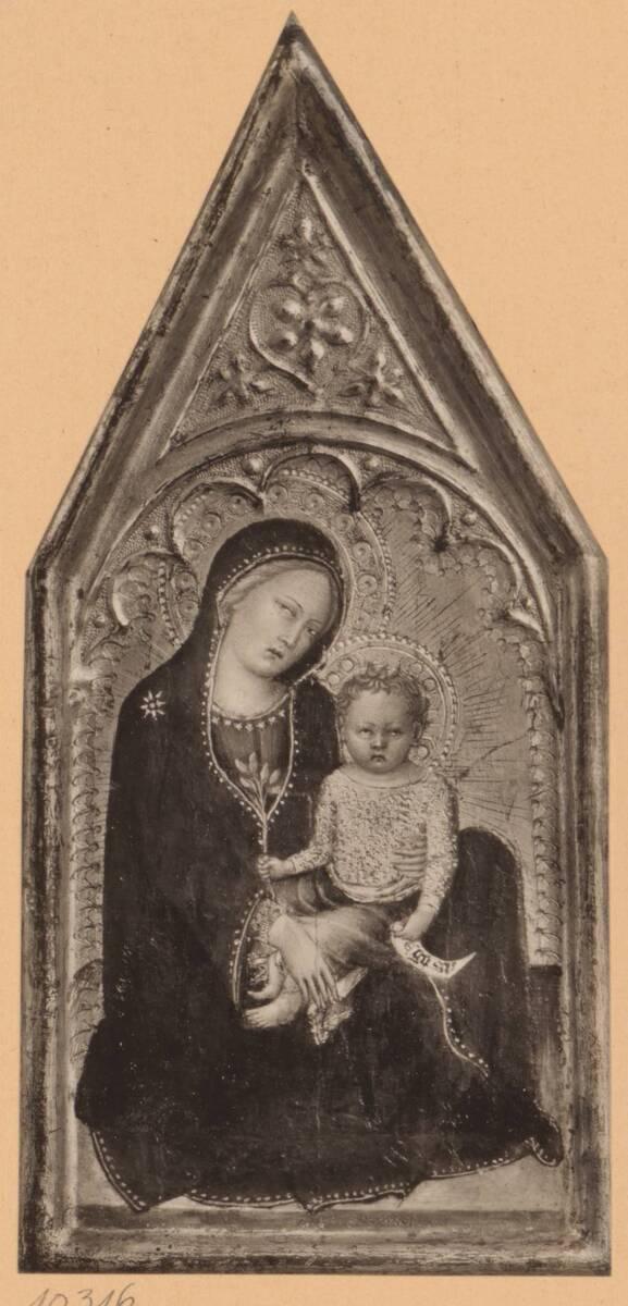 Fotografie einer Malerei mit einer Madonna mit Kind, von Francesco di Vannuccio, aus der Sammlung von Camillo Castiglioni (vom Bearbeiter vergebener Titel) von Anonym