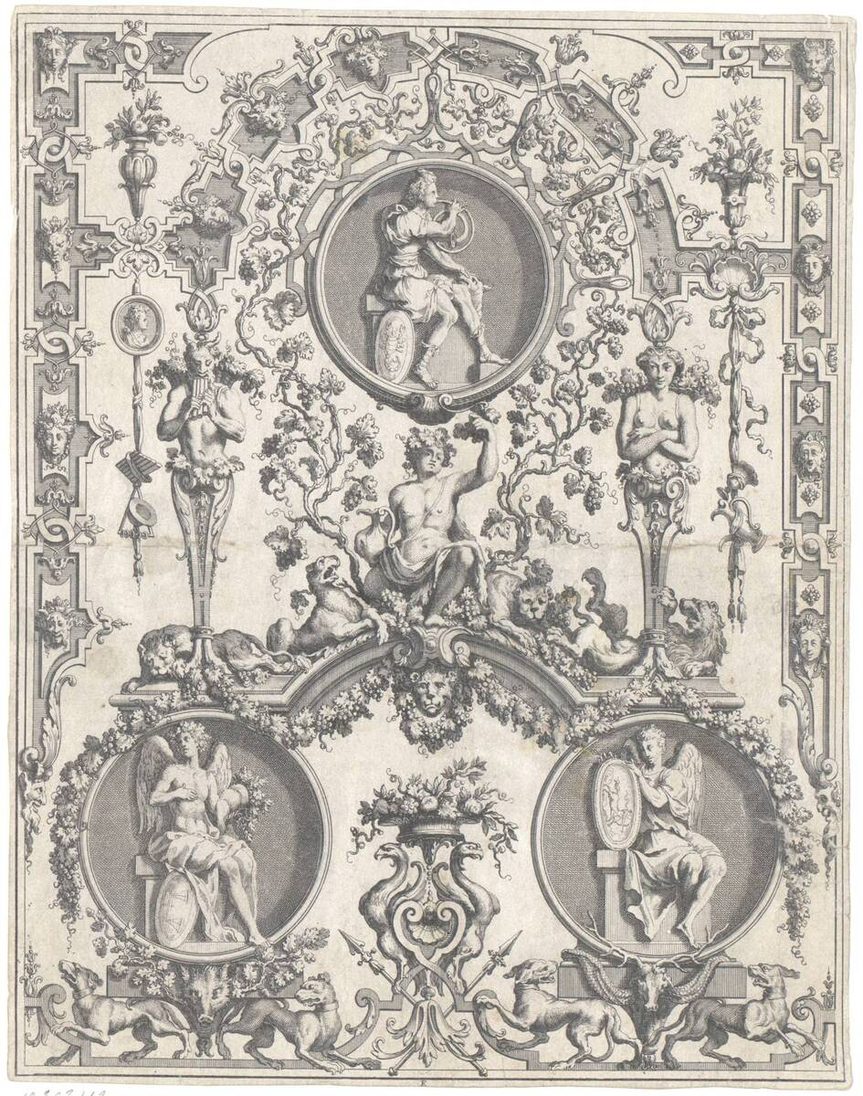 """Groteske, Blatt aus der Folge E aus den """"Oeuvres de Jean Berain etc."""", herausgegeben von Thuret (vom Bearbeiter vergebener Titel) von Bérain, Jean"""