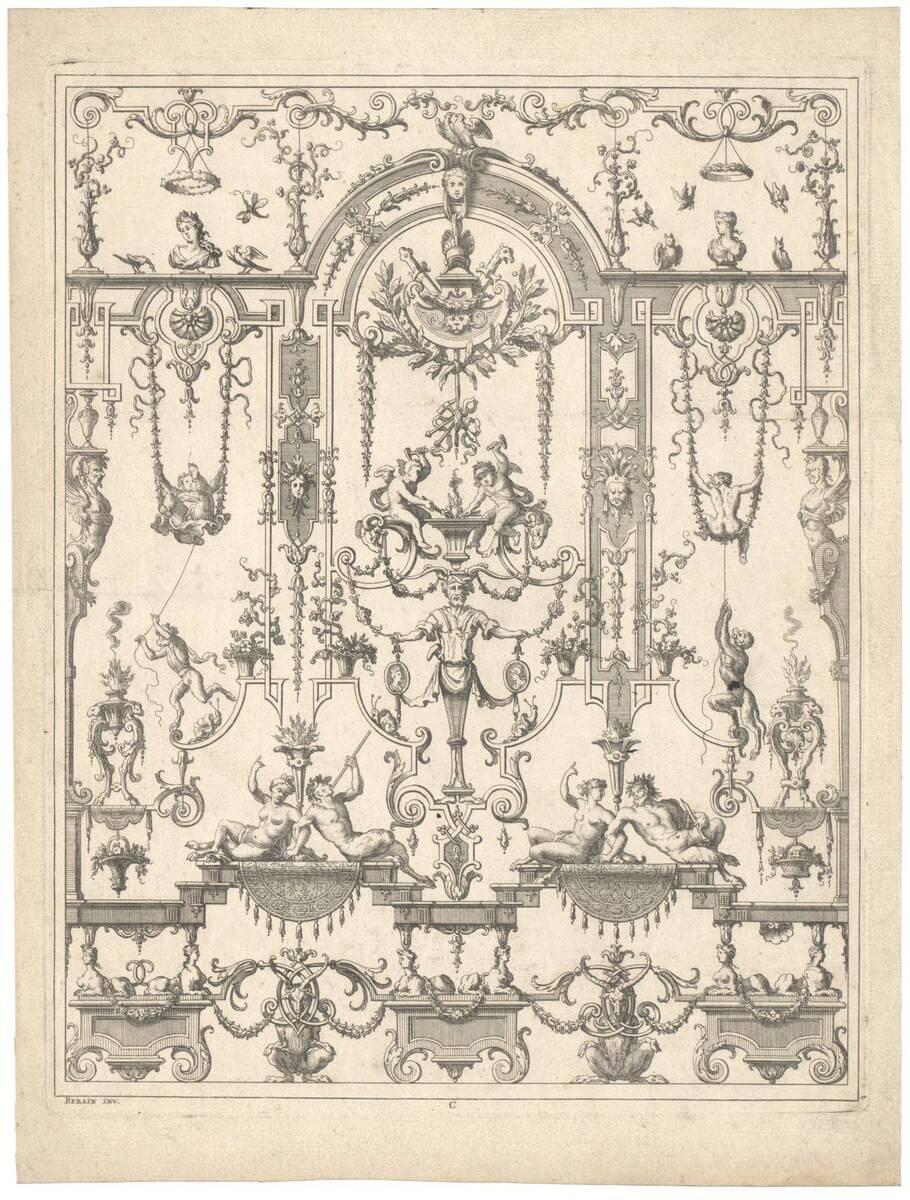"""Groteske, Blatt aus der Folge C aus den """"Oeuvres de Jean Berain etc."""", herausgegeben von Thuret (vom Bearbeiter vergebener Titel) von Bérain, Jean"""