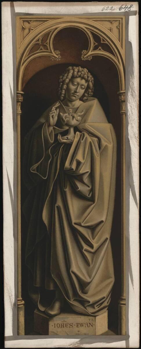 Abbildung der Malerei des rechten unteren Flügels (Außenseite) des Genter Altars, mit einer Statue des Johannes des Evangelisten, von Jan van Eyck und vermutlich von Hubert van Eyck (vom Bearbeiter vergebener Titel) von Anonym