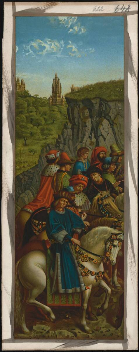 """Abbildung der Malerei des linken unteren Flügels (Festtagsseite) des Genter Altars, mit """"Gerechte Richter"""", von Jan van Eyck und vermutlich von Hubert van Eyck (vom Bearbeiter vergebener Titel) von Anonym"""