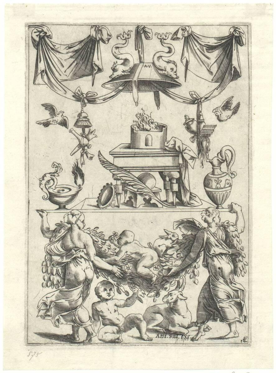 Blatt 12 aus einer Folge von 20 Ornamentstichen nach Raffael oder Giovanni da Udine, herausgegeben von Antonio Salamanca (vom Bearbeiter vergebener Titel) von Musi, Agostino dei