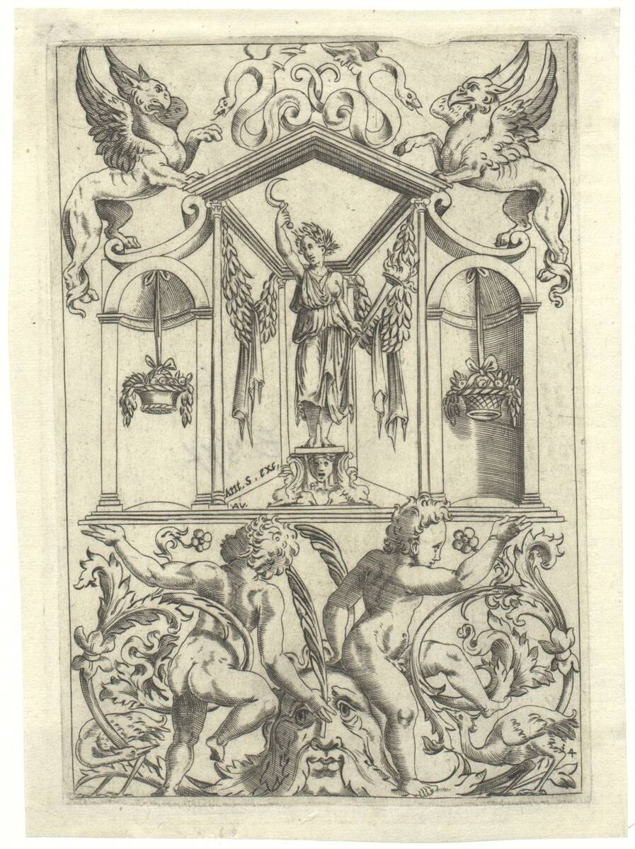 Blatt 14 aus einer Folge von 20 Ornamentstichen nach Raffael oder Giovanni da Udine, herausgegeben von Antonio Salamanca (vom Bearbeiter vergebener Titel) von Musi, Agostino dei