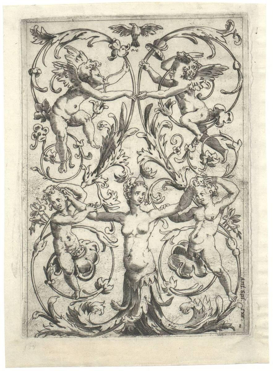 Blatt 1 aus einer Folge von 20 Ornamentstichen nach Raffael oder Giovanni da Udine, herausgegeben von Antonio Salamanca (vom Bearbeiter vergebener Titel) von Musi, Agostino dei