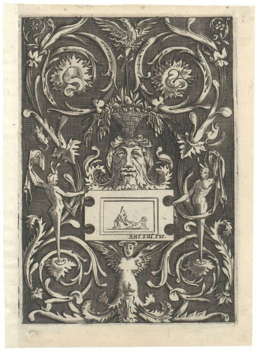 Blatt 9 aus einer Folge von 20 Ornamentstichen nach Raffael oder Giovanni da Udine, herausgegeben von Antonio Salamanca (vom Bearbeiter vergebener Titel) von Musi, Agostino dei