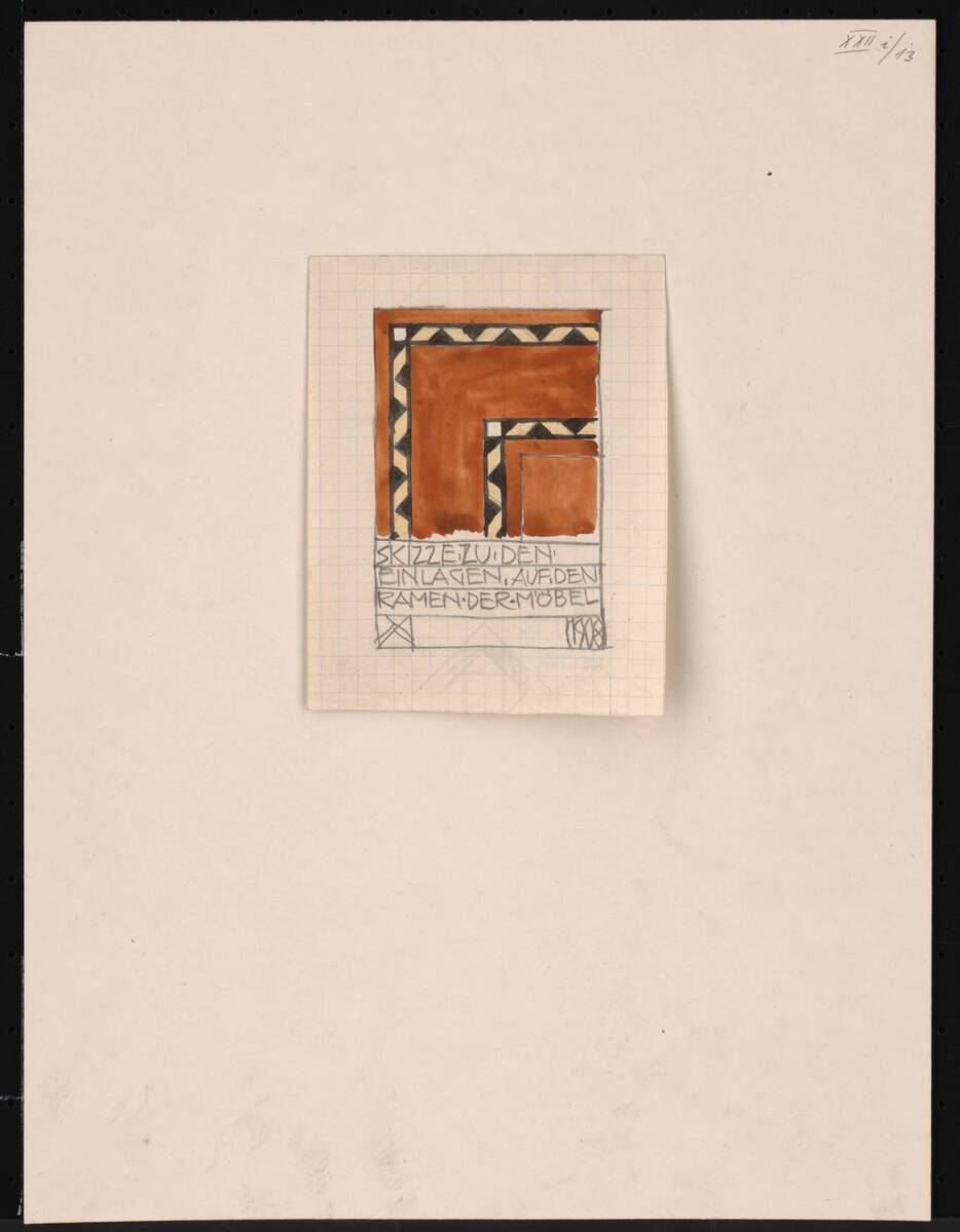 Zeichnung zu einem Salon für Frau Hertha Jäger: Rahmeneinlagen der Möbel von Kling, Anton <1881>