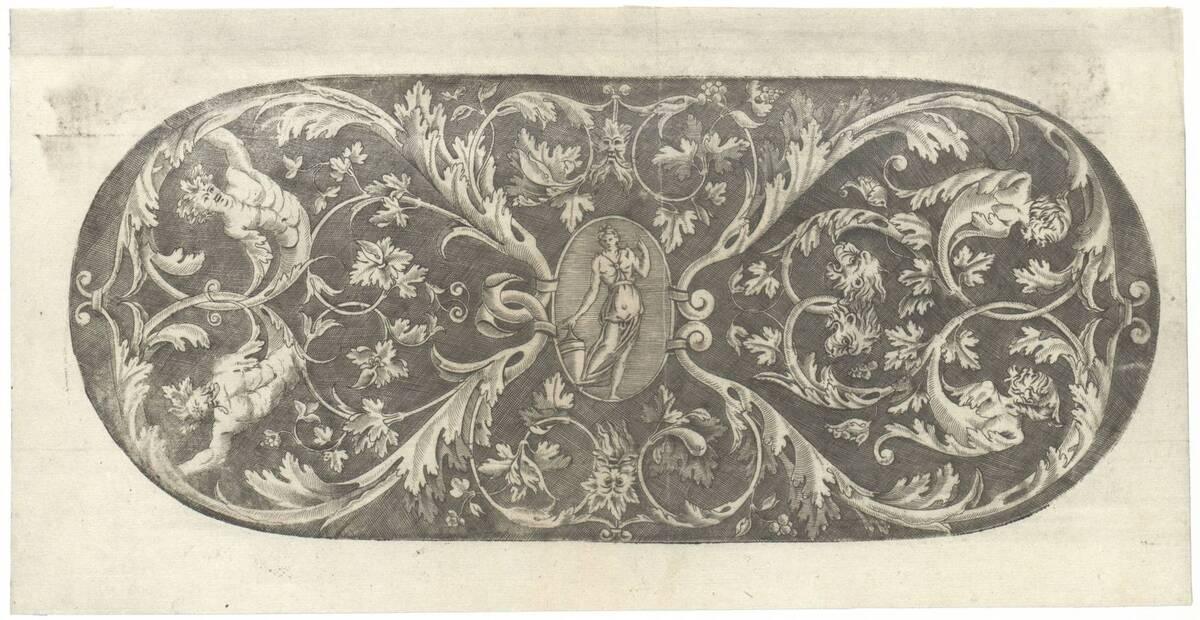 Laubwerkfüllung, in der Mitte ein Medaillon mit einer weiblichen Figur, oval (vom Bearbeiter vergebener Titel) von Vico, Enea