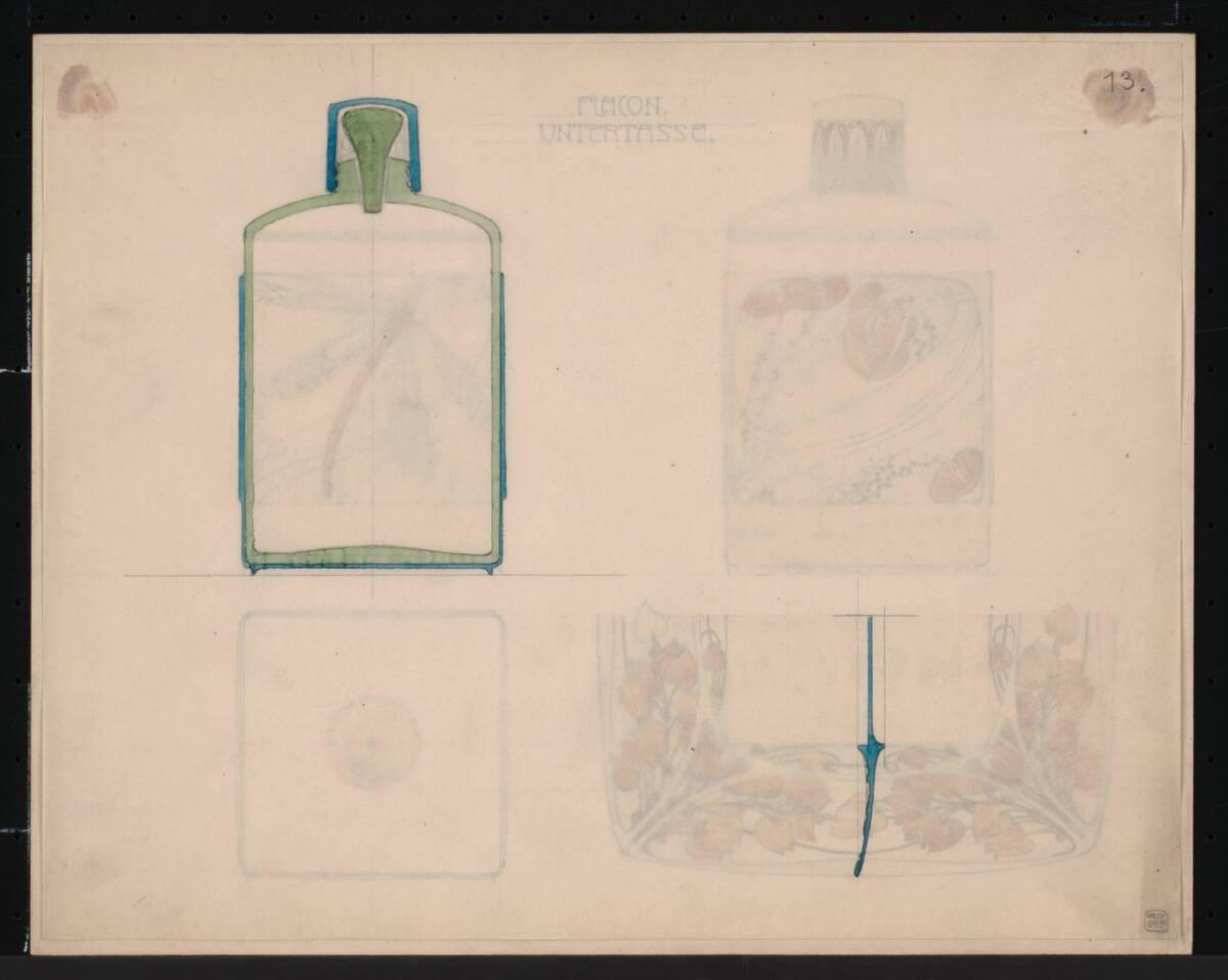 Entwurf für ein Flakon mit Untertasse von Orlik, Emil