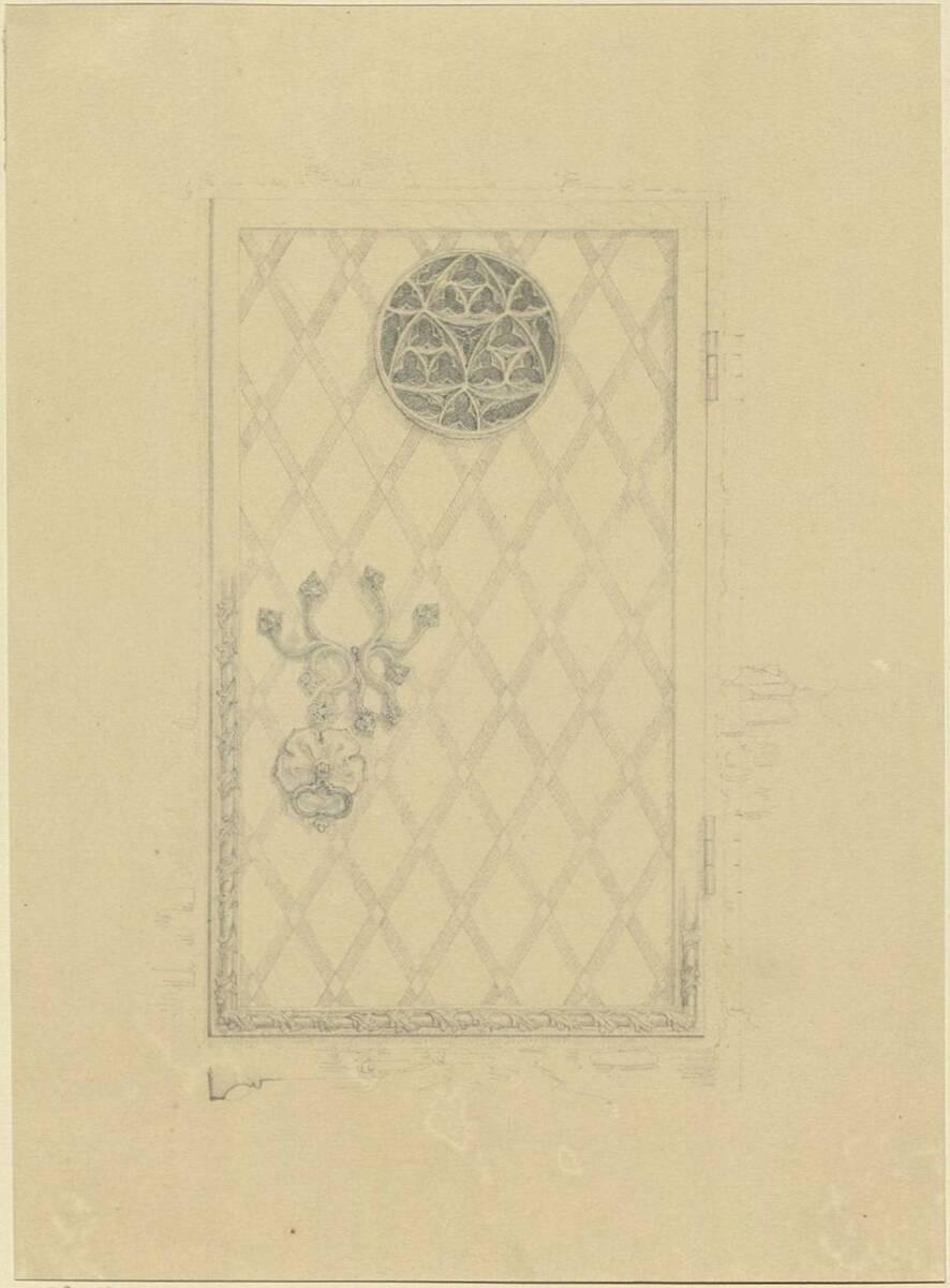 Kopie einer gotischen Tür mit Eisenbeschlägen (vom Bearbeiter vergebener Titel) von Anonym