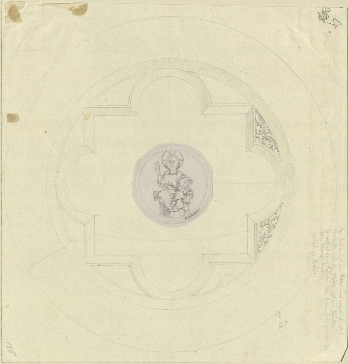Kopie einer gotischen vergoldeten Silberatene (Hostienteller) mit einer Christusdarstellung in einem Niello (vom Bearbeiter vergebener Titel) von Anonym