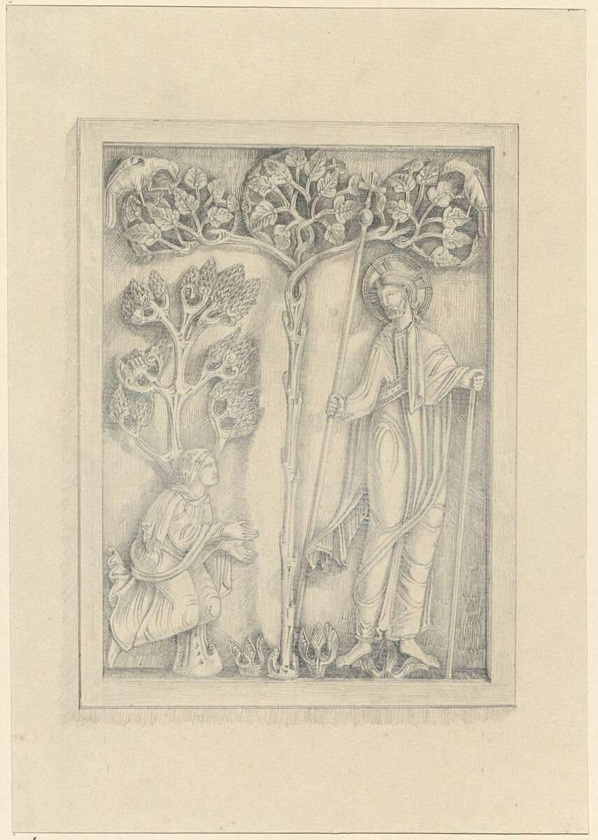 Kopie eines Elfenbeinreliefs aus dem 12. Jahrhundert mit biblischer Darstellung (vom Bearbeiter vergebener Titel) von Anonym