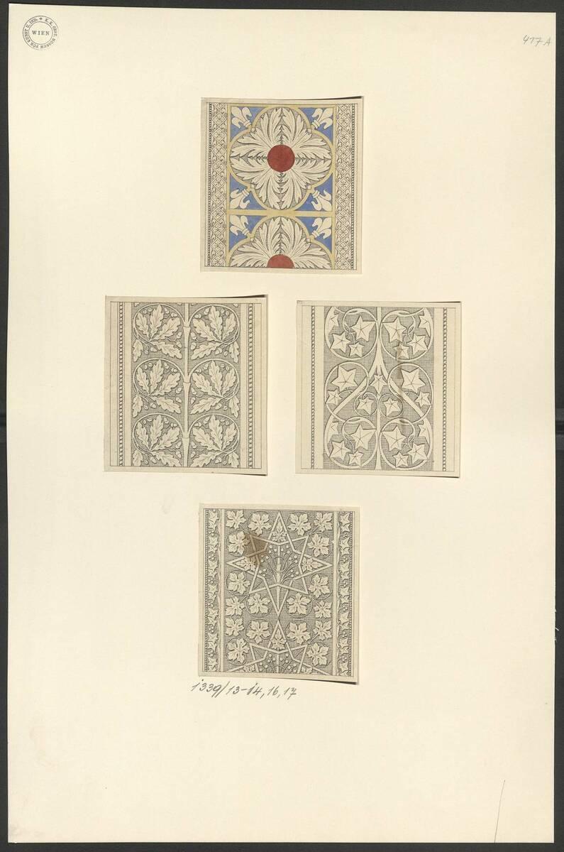 Kopie eins Glasfensterdetails mit von Sternen umrahmter Blattornamentik (vom Bearbeiter vergebener Titel) von Anonym