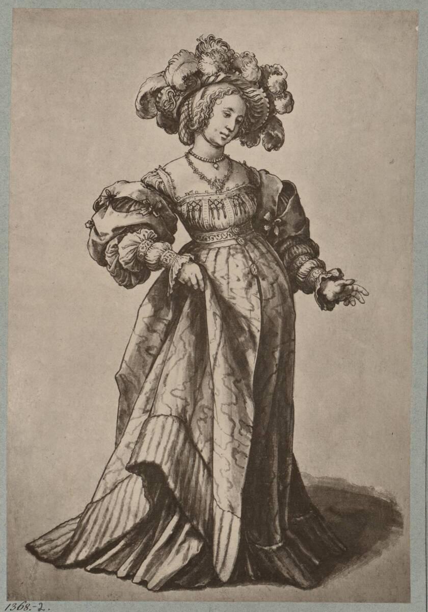 """Fotografie einer Handzeichnung """"Baseler Frauentracht"""" von Hans Holbein (vom Bearbeiter vergebener Titel) von Braun, Adolphe"""
