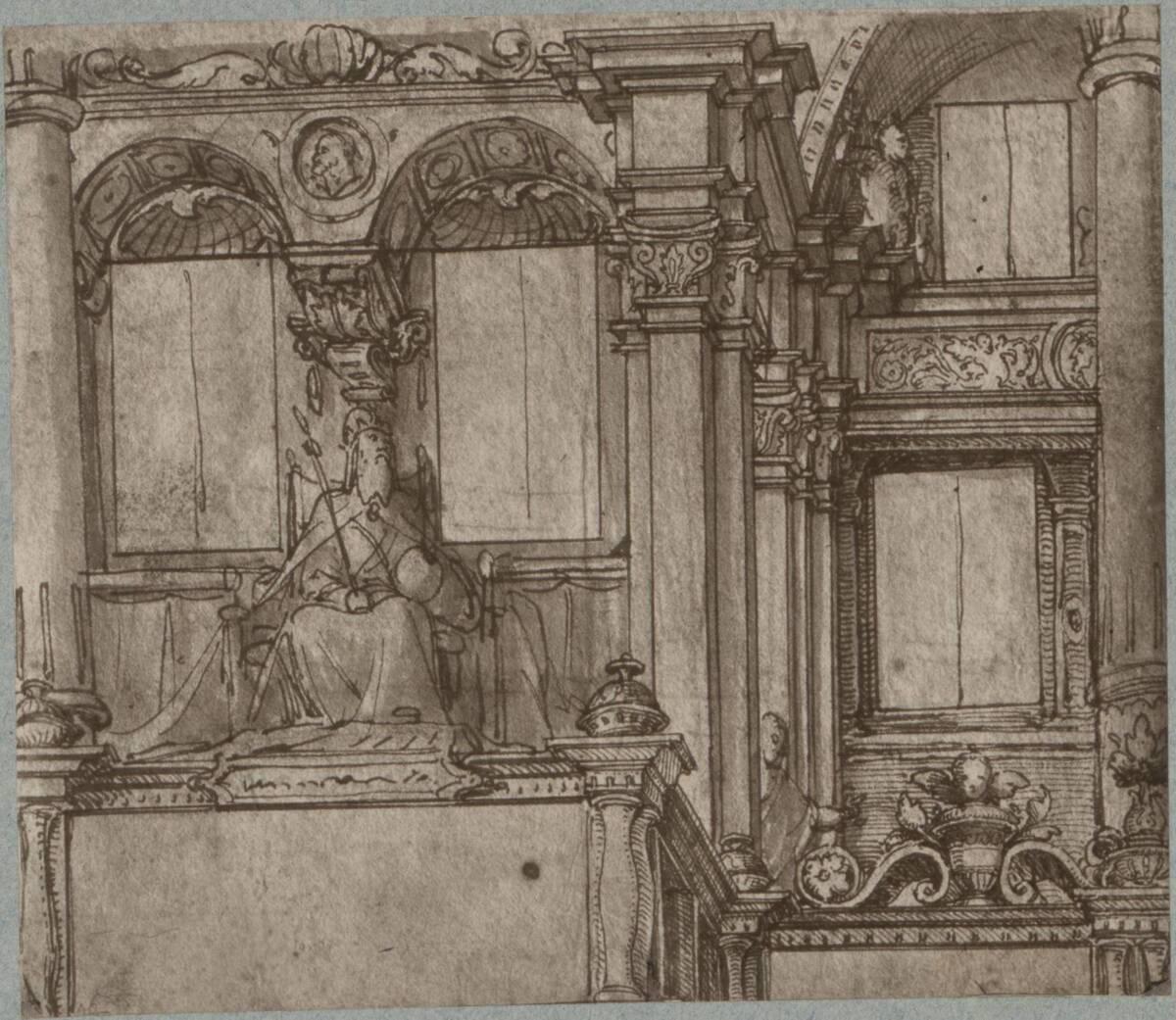 Fotografie einer Entwurfszeichnung für eine Fassade, von Hans Holbein (vermutlich der Jüngere) (vom Bearbeiter vergebener Titel) von Ad. Braun & Cie.