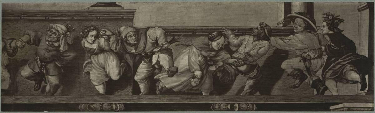 Fotografie einer Zeichnung eines Frieses mit tanzenden Paaren, nach einer Malerei vermutlich von Hans Holbein (der Jüngere) (vom Bearbeiter vergebener Titel) von Braun, Adolphe