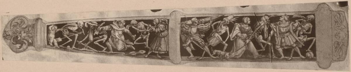 Fotografie einer Zeichnung einer Dolchscheide, mit dem Totentanz, von Hans Holbein (vermutlich der Jüngere) (vom Bearbeiter vergebener Titel) von Anonym