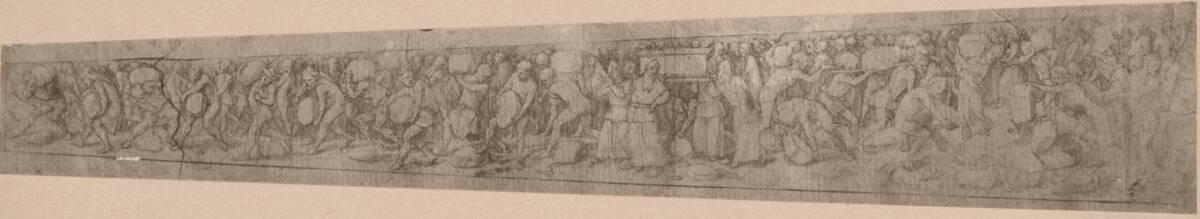 Fotografie einer Zeichnung einer Dolchscheide, von Hans Holbein (vermutlich der Jüngere) von Anonym
