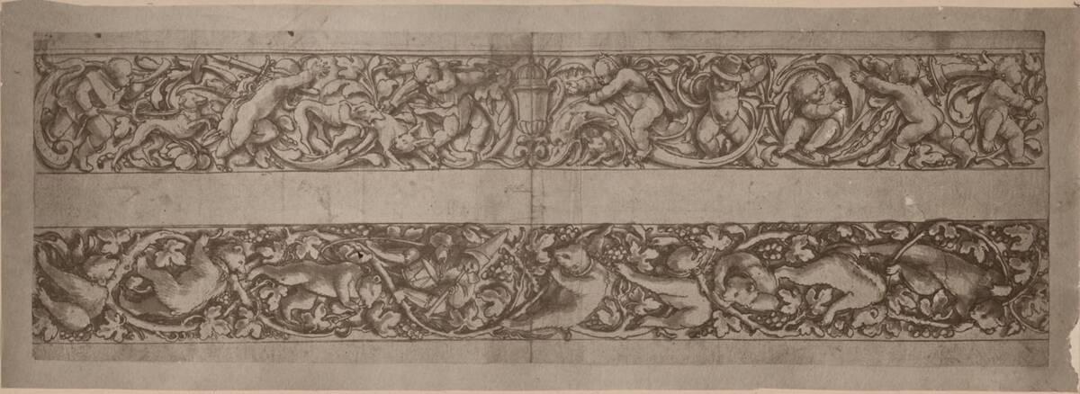 Fotografie einer Entwurfszeichnung für eine Friesdekoration, von Hans Holbein (vermutlich der Jüngere) (vom Bearbeiter vergebener Titel) von Anonym