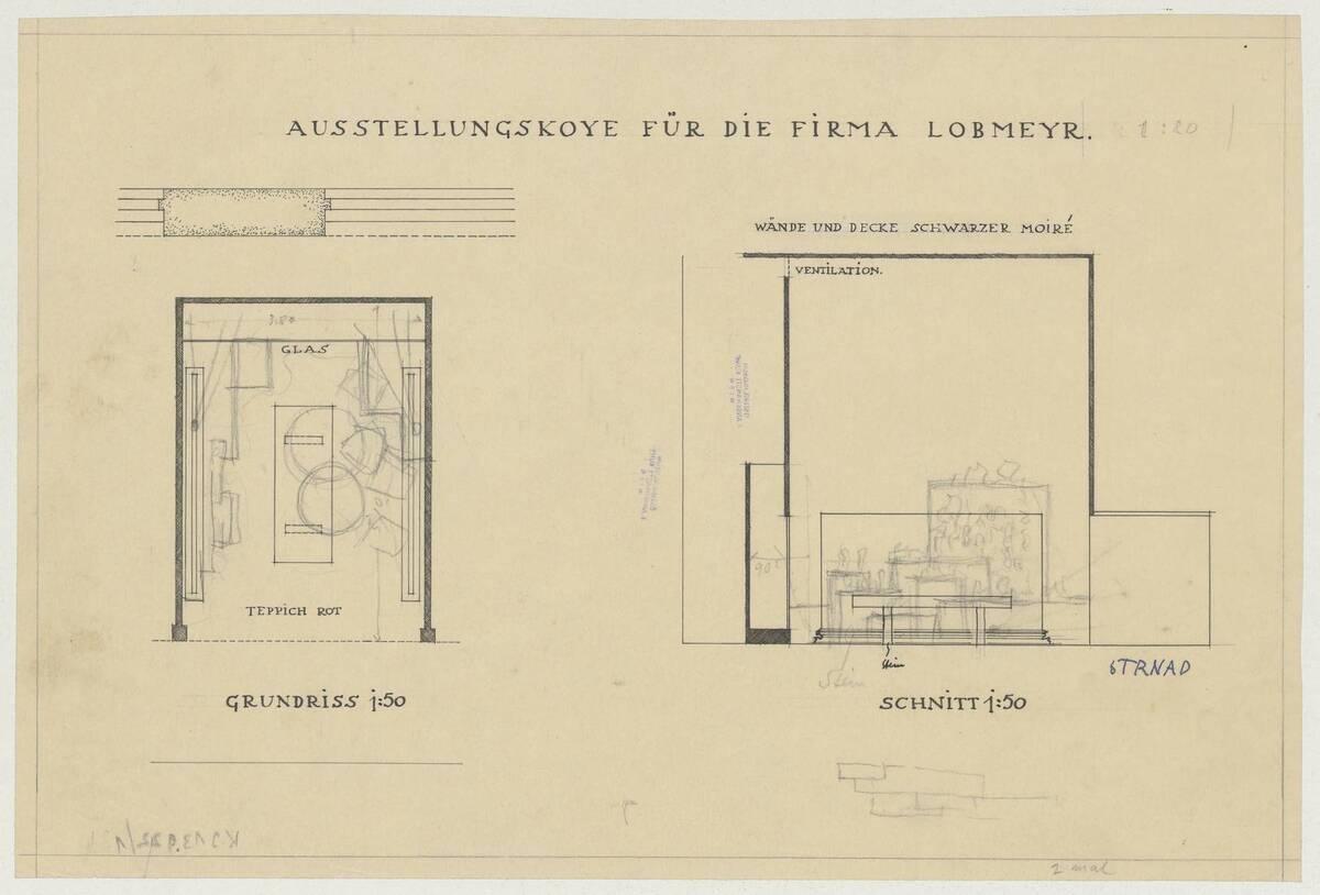 Grundriss und Schnitt der Ausstellungskoje für die Firma Lobmeyr (vom Bearbeiter vergebener Titel) von Strnad, Oskar