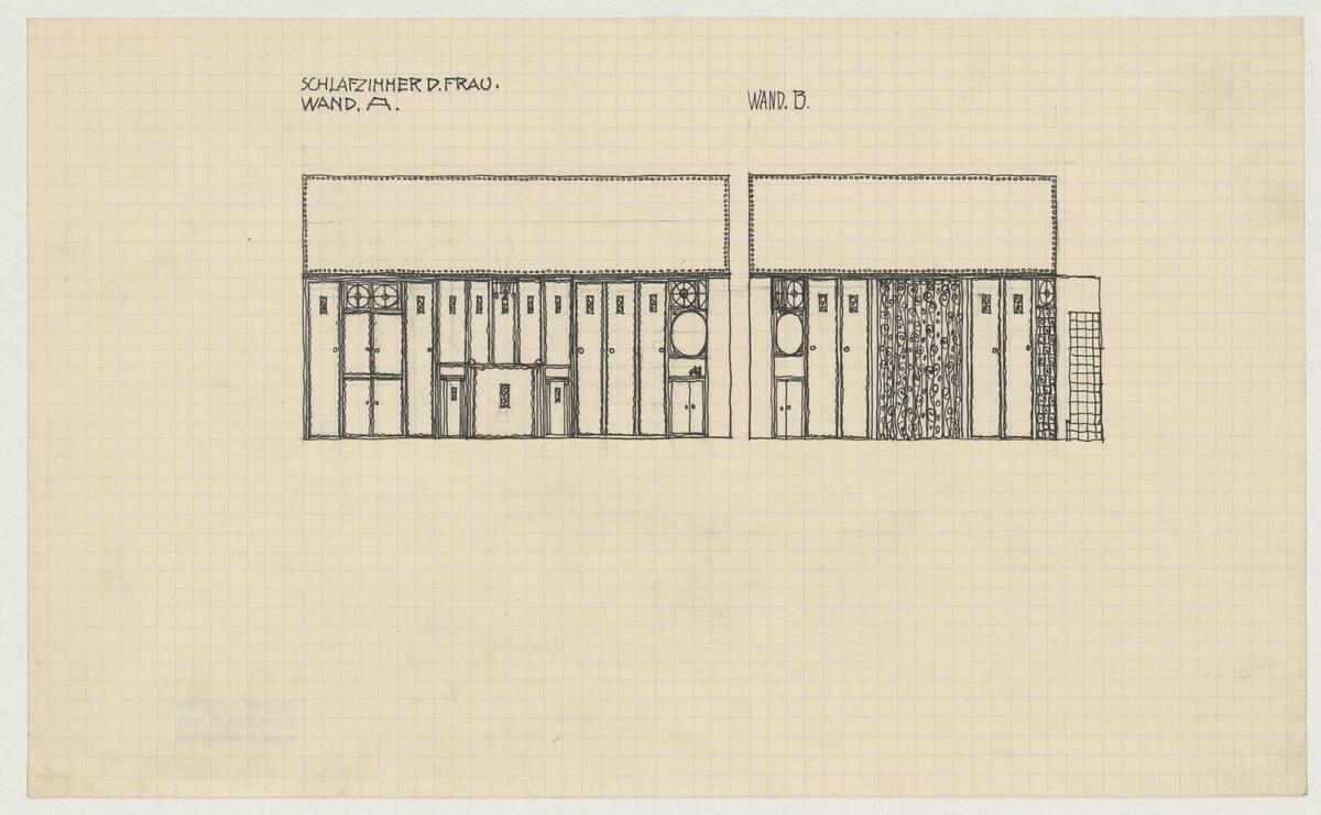 Wandansicht der Wände A. und B. für das Schlafzimmer der Frau (vom Bearbeiter vergebener Titel) von Bräuer, Karl