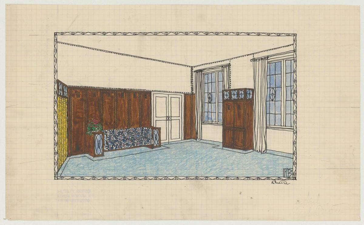 Ansicht des Innenraum für das Schlafzimmer der Frau (vom Bearbeiter vergebener Titel) von Bräuer, Karl