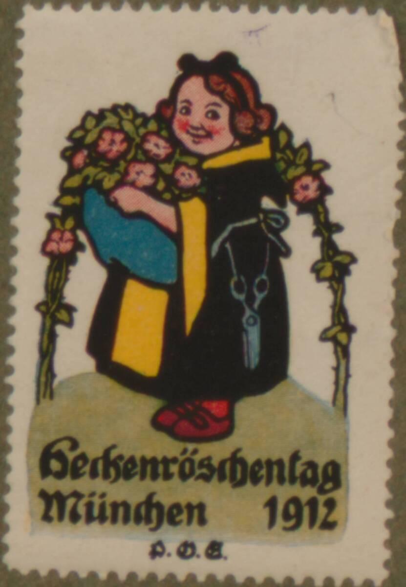 Werbeverschlussmarke anlässlich des Heckenröschentags in München 1912 von Engelhard, Paul Otto
