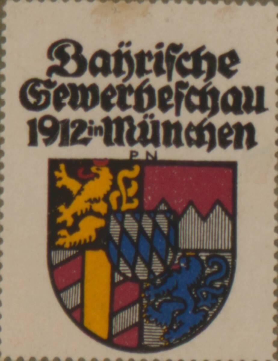 Werbeverschlussmarke anlässlich der Bayrische Gewerbeschau 1912 in München von Neu, Paul