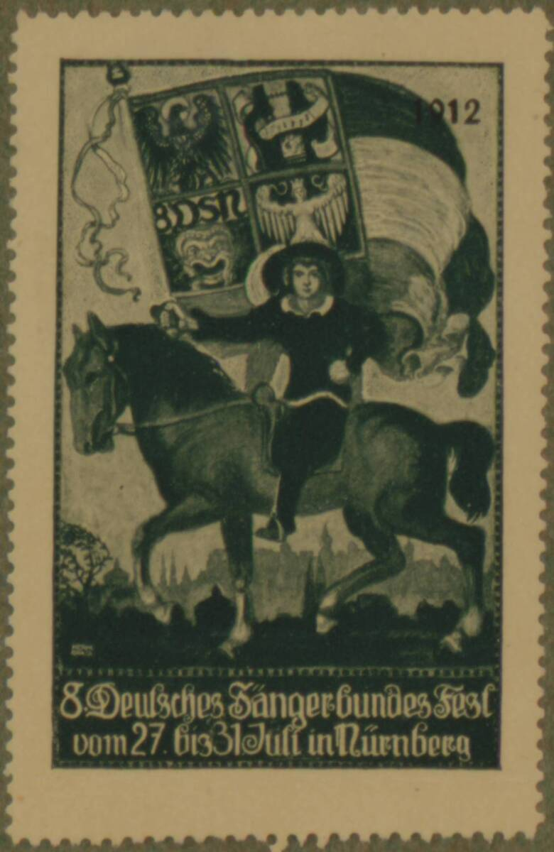 Werbeverschlussmarke anlässlich des 8. Deutschen Fest des Sängerbundes in Nürnberg 1912 von Anonym